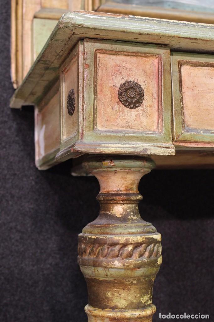 Antigüedades: Antigua consola con espejo torinese lacada epoca Luís XVI - Foto 4 - 105267439