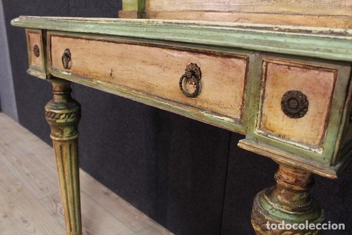 Antigüedades: Antigua consola con espejo torinese lacada epoca Luís XVI - Foto 7 - 105267439