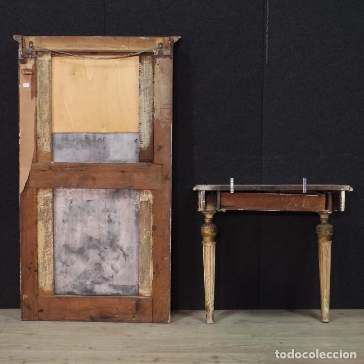Antigüedades: Antigua consola con espejo torinese lacada epoca Luís XVI - Foto 10 - 105267439