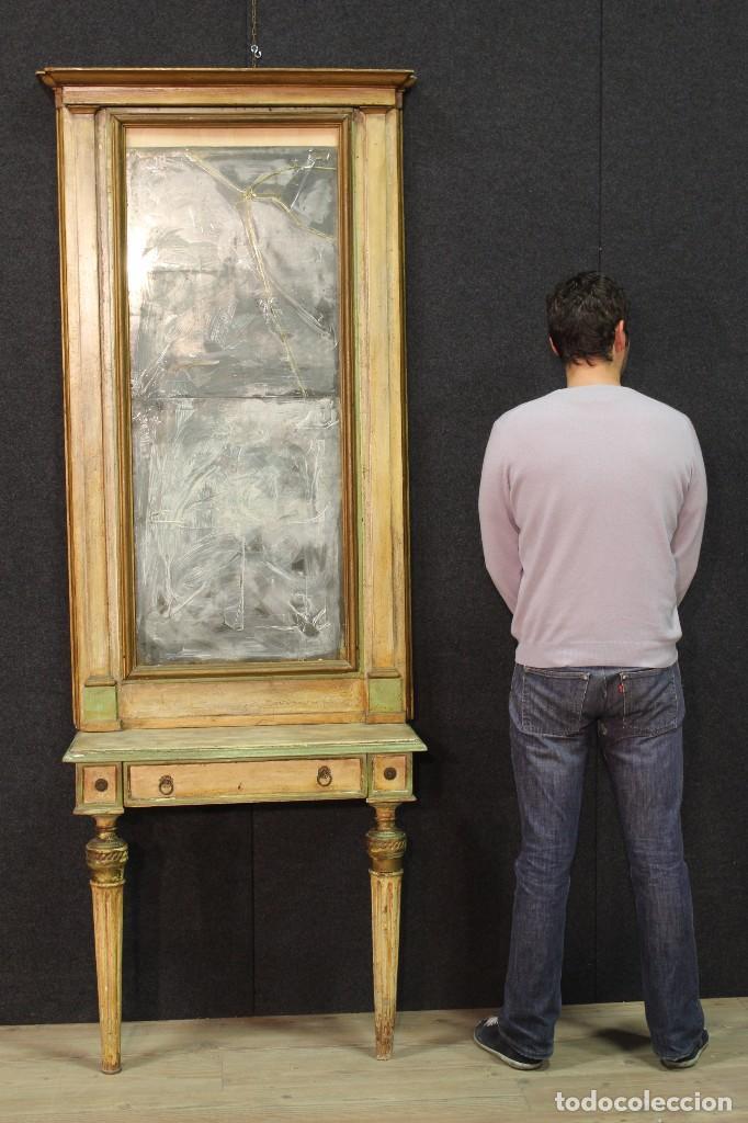 Antigüedades: Antigua consola con espejo torinese lacada epoca Luís XVI - Foto 15 - 105267439