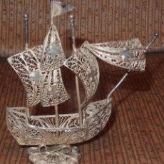 Antigüedades: CARABELA DE PLATA,FILIGRANA,AÑOS 60 Ó 70. Lote 105273279