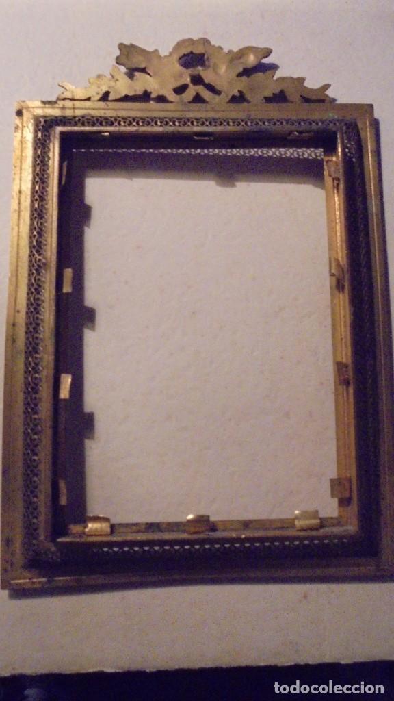 Antigüedades: ANTIGUO MARCO DE BRONCE S. XIX -DE BRONCE , 21X14,5 CM. ORIGINAL DE LA EPOCA , NO REPRODUCCION - Foto 4 - 105273743