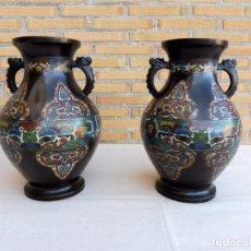 Antigüedades: 2 JARRONES CLOISONNÉS SIGLO XIX. Lote 105333923