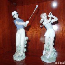 Antigüedades: PAREJA NIÑOS GOLF. Lote 105336651