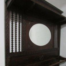 Antigüedades: PARAGUERO DE PARED CON ESPEJO. Lote 105377024