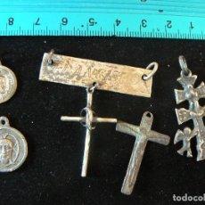 Antigüedades: LOTE ANTIGUAS MEDALLAS RELIGIOSAS DE PLATA CONTRASTADA. Lote 105377587
