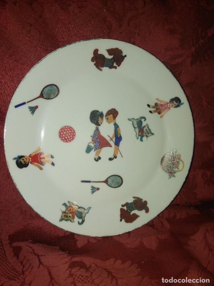 PLATO INFANTIL DE PORCELANA SANBO VINTAGE. (Antigüedades - Porcelanas y Cerámicas - Otras)