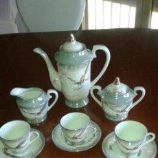 Antigüedades: ANTIGUO JUEGO DE CAFE DE PORCELANA CHINA,CON REALCE.. Lote 82873554