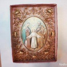 Antigüedades: ESPECTACULAR RELICARIO, SIGLO XIX, LE FALTA EL CRISTAL, 29X23 CM, MONTADO EN CARTÓN. Lote 105583455