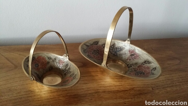 Antigüedades: Antiguas cestas de latón - Foto 2 - 105596643