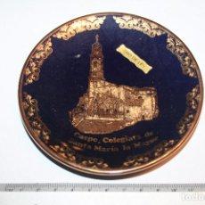 Antigüedades: COLEGIATA DE SANTA MARIA LA MAYOR DE CASPE (ZARAGOZA) *** PLATO GRABADO EN ORO DE LEY *** 12 CMS. Lote 105600203