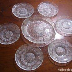 Antigüedades: LOTE ENTREMESEROS: COMPLETO !! 6 + 1 CONJUNTO SET PLATOS DE CRISTAL PRENSADO. Lote 105605851