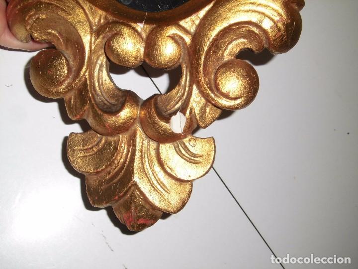 Antigüedades: PEQUEÑA CORNUCOPIA DE MADERA Y ESCAYOLA DORADA PEQUEÑO GOLPE VER FOTOS - Foto 8 - 105608103