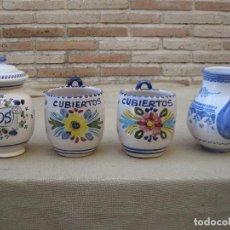 Antigüedades: LOTE DE 4 PIEZAS DE CERAMICA DE TALAVERA DE LA REINA.. Lote 105629515