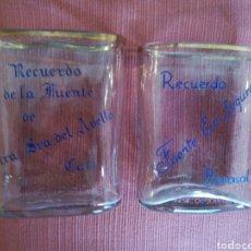 Antigüedades: LOTE DE 2 VASO PETACA BALNEARIO AGUAS BENASAL Y FUENTE NTRA SRA DE AVELLA. Lote 105646384