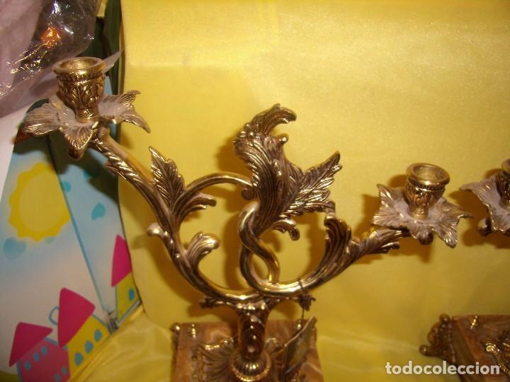 Antigüedades: Candelabros bronce chapado oro, baño de oro mármol, de Bronces Andria, años 70, Nuevos. - Foto 2 - 105669059