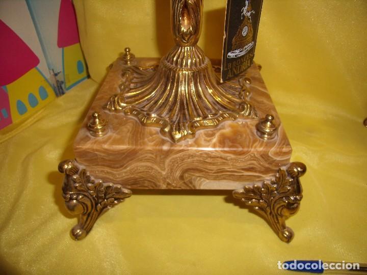 Antigüedades: Candelabros bronce chapado oro, baño de oro mármol, de Bronces Andria, años 70, Nuevos. - Foto 4 - 105669059