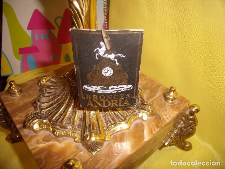 Antigüedades: Candelabros bronce chapado oro, baño de oro mármol, de Bronces Andria, años 70, Nuevos. - Foto 5 - 105669059