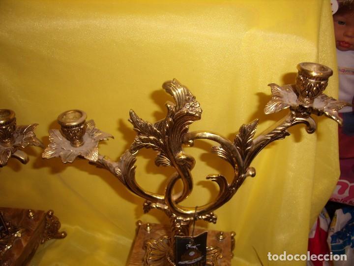 Antigüedades: Candelabros bronce chapado oro, baño de oro mármol, de Bronces Andria, años 70, Nuevos. - Foto 6 - 105669059