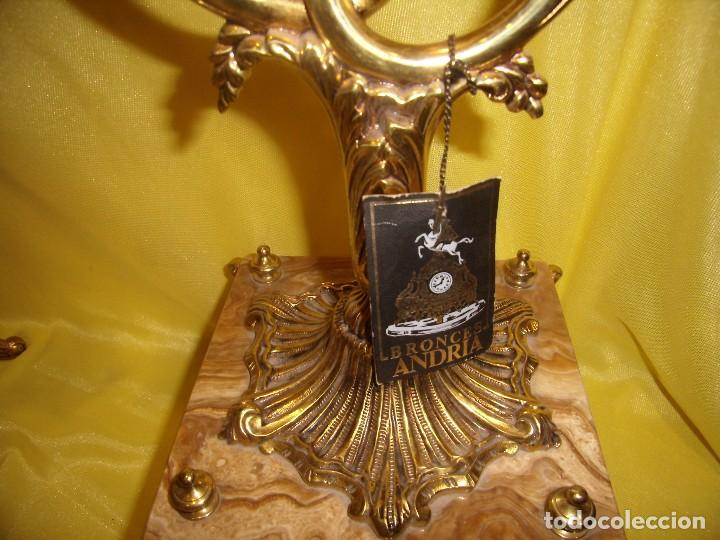 Antigüedades: Candelabros bronce chapado oro, baño de oro mármol, de Bronces Andria, años 70, Nuevos. - Foto 7 - 105669059