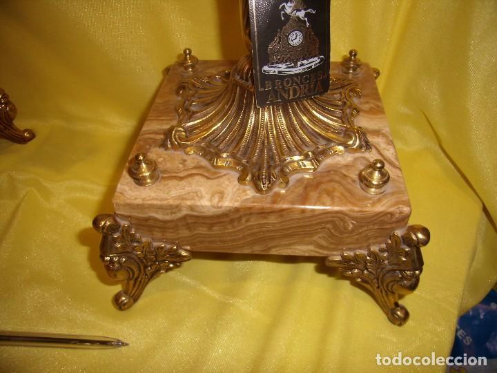 Antigüedades: Candelabros bronce chapado oro, baño de oro mármol, de Bronces Andria, años 70, Nuevos. - Foto 8 - 105669059