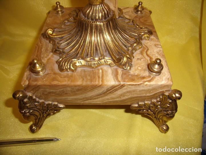 Antigüedades: Candelabros bronce chapado oro, baño de oro mármol, de Bronces Andria, años 70, Nuevos. - Foto 11 - 105669059