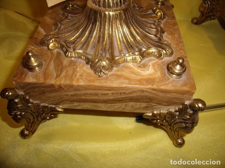 Antigüedades: Candelabros bronce chapado oro, baño de oro mármol, de Bronces Andria, años 70, Nuevos. - Foto 13 - 105669059