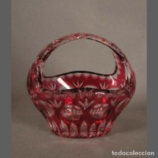 Antigüedades: CESTA DE CRISTAL TALLADO. BOHEMIA 1940 - 1950.. Lote 105684787