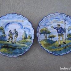 Antigüedades: LOTE DE 2 PLATOS ANTIGUOS EN CERAMICA DE TALAVERA DE LA REINA ( TOLEDO ) FIRMADOS. SERIE EL QUIJOTE.. Lote 105688051