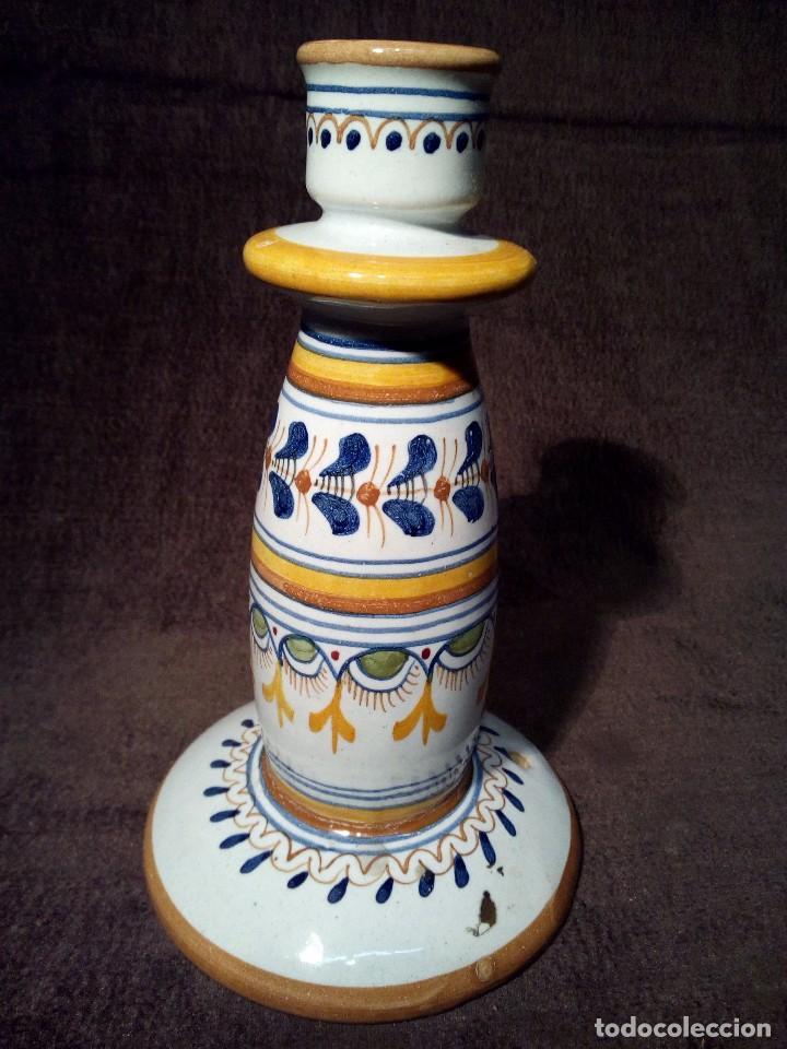 Antigüedades: TALAVERA PORTAVELAS DE CERAMICA EL CARMEN PERFECTO ESTADO - Foto 2 - 105761887