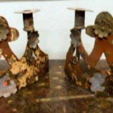 Antigüedades: CANDELABROS DE HIERRO -S.XVIII. Lote 105800563