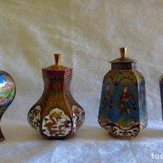 Antigüedades: CONJUNTO DE 4 TIBORES JAPONESES ESMALTADOS EN CLOISONE. Lote 105801039