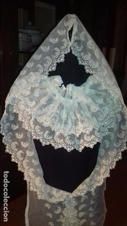 Antigüedades: antiguo tul bordado encaje tocado de virgen o paño de altar semana santa gran tamaño 385 cm leer - Foto 14 - 105843115