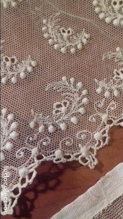 Antigüedades: antiguo tul bordado encaje tocado de virgen o paño de altar semana santa gran tamaño 385 cm leer - Foto 21 - 105843115