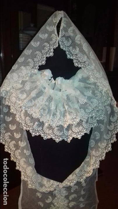 Antigüedades: antiguo tul bordado encaje tocado de virgen o paño de altar semana santa gran tamaño 385 cm leer - Foto 23 - 105843115