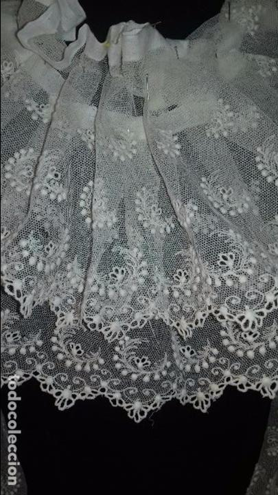 Antigüedades: antiguo tul bordado encaje tocado de virgen o paño de altar semana santa gran tamaño 385 cm leer - Foto 28 - 105843115