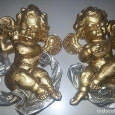 Antigüedades: ANGELOTES EN MADERA TALLADA DORADA S.XX. Lote 105859203