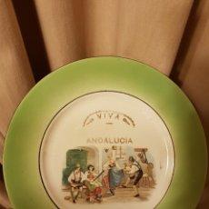 Antigüedades: ANTIGUO PLATO VIVA ANDALUCÍA. SAN JUAN DE AZNALFARACHE. DIÁMETRO 23,5 CM. PORCELANA OPACA SEVILLA.. Lote 105860964