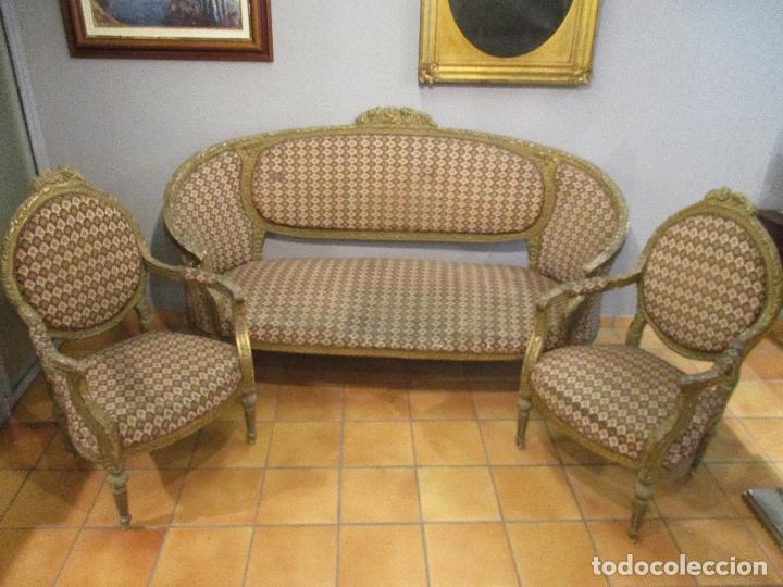 Conjunto tresillo sof y pareja de sillones comprar for Sofas antiguos