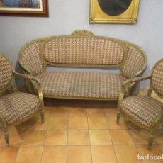 Antigüedades: CONJUNTO TRESILLO - SOFÁ Y PAREJA DE SILLONES - ESTILO LUIS XV - IDEAL COMEDOR, SALÓN, ETC. Lote 176675955