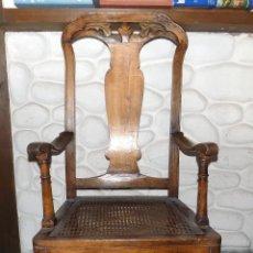 Antigüedades: ANTIGUO SILLON DE REJILLA. REINA ANA. POSIBLEMENTE XVIII- XIX. PERFECTO ESTADO. Lote 105886259