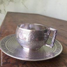 Antigüedades: TAZA Y PLATO PARA CAFÉ DE PLATA DE LEY CON UN PESO TOTAL DE 135 GRAMOS. Lote 105894495