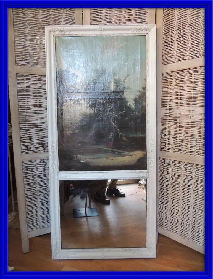 BONITO Y ANTIGUO TRUMEAU LIENZO CON ESPEJO Y MARCO DECAPE (Antigüedades - Muebles Antiguos - Espejos Antiguos)