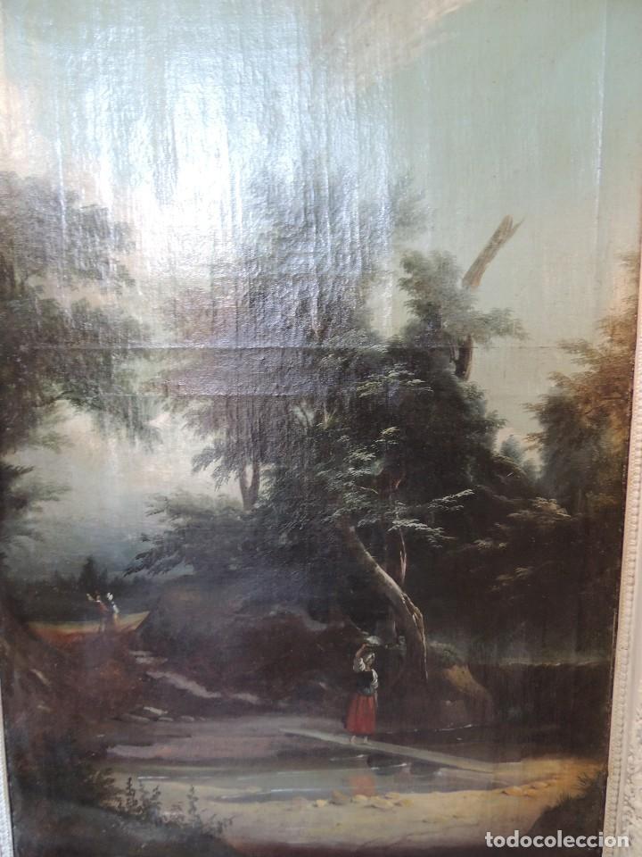 Antigüedades: BONITO Y ANTIGUO TRUMEAU LIENZO CON ESPEJO Y MARCO DECAPE - Foto 3 - 105903207
