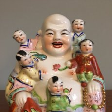 Antigüedades: ANTIGUA FIGURA DE BUDA CHINO EN CERAMICA O PORCELANA. Lote 59601587