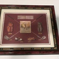 Antigüedades: CUADRO-GOLF- MASTERING THE SWING REPRODUCCIÓN HACKERS CLUB 1936. Lote 105919878