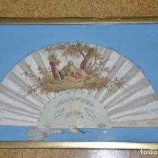 Antigüedades: ABANICO Y ABANIQUERA SIGLO XIX. Lote 105924035