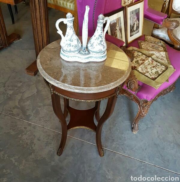 MESA VELADOR ESTILO IMPERIO MARMOL BISELADO (Antigüedades - Muebles Antiguos - Veladores Antiguos)