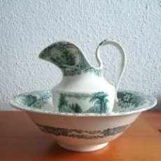 Antigüedades: AGUAMANIL Y PALANGANA LOZA PICKMAN SEMI CHINA - VERDE SOBRE BLANCO PORCELANA SEVILLA CARTUJA. Lote 105947192
