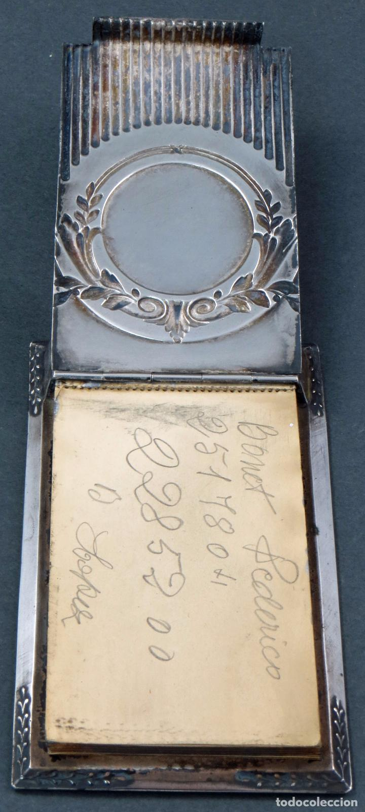 Antigüedades: Agenda modernista de plata con libreta principios del siglo XX - Foto 3 - 105970775